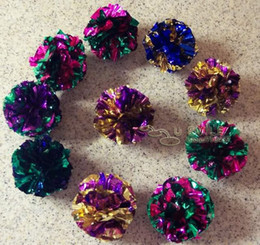 Wholesale Cat Toys Free Shipping - 100 Pack MYLAR balls crinkle cat toys kitten toy ball FREE SHIPPING
