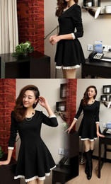 Wholesale Dresses Bud Render - newest Sweet temperament show thin render skirt autumn winter bud silk long sleeve cultivate one's morality dress