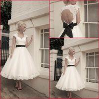 Wholesale Sexy Alencon Lace Wedding Dress - Short Wedding Dresses Cap Sleeves White Tulle Alencon Lace Black Waist Belt Bridal Dress Wedding Gown H1409