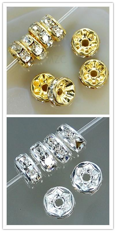 100 Pcs 8mm Gold Plated Crystal Rondelle Spacer Beads Charms Findings