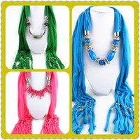 Wholesale Pendant Scarf Pieces - Mixed Color Mixed Pendant Hot Selling Necklace Pendant Scarves Coral&Resin Beads Jewerly Spring Shawl for Horse Year 50 pieces lot