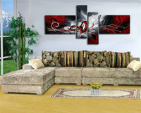 Wholesale Modern Abstract Painting Black Red - wholesale high quality art oil painting black red white abstract painting gifts modern paintings on canvas living room painting picture