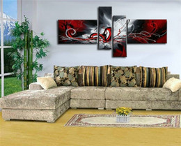 Wholesale Black Red Modern Abstract - wholesale high quality art oil painting black red white abstract painting gifts modern paintings on canvas living room painting picture