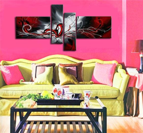 2018 Wholesale High Quality Art Oil Painting Black Red White ...