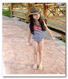 Wholesale Girls White Swimsuit - Fashion black white stripe Siamese swimwear baby girls Swim hat+ swimsuit 2pcs sets swim pool swimsuits 7025