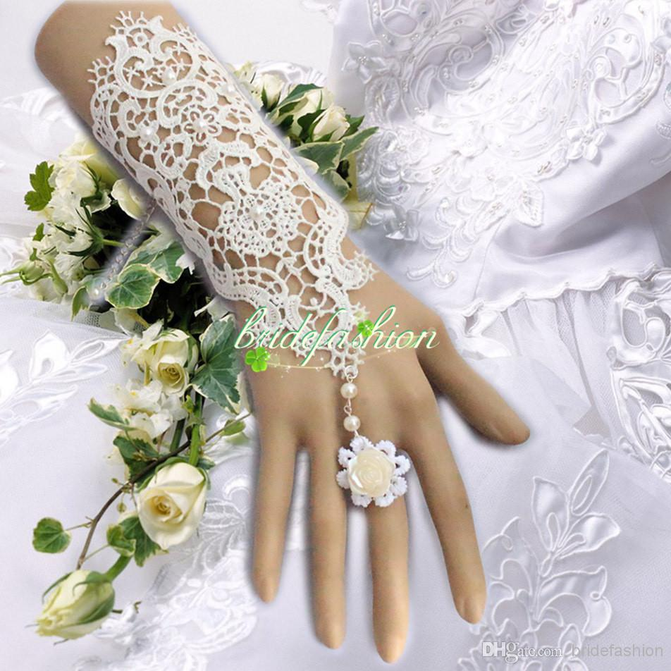 New Hot Sale Fashion White, Ivory Pearl Lace Wedding Bride Bridal Gloves,Ring Bracelet