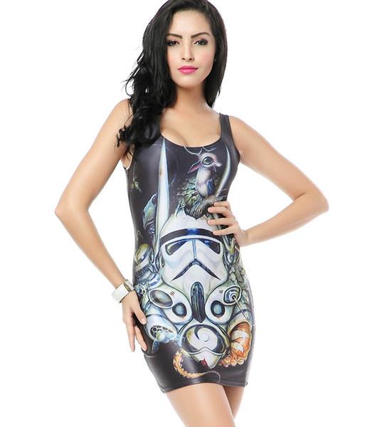 Stormtrooper Star Wars Tank Dress Women Summer Casual Bodycon 3D Print for Prom Party Elastic Shape Sleeveless O Neck Slim TQ068