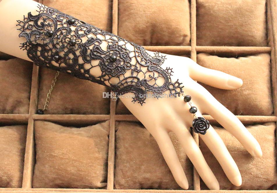 Retro gothic exaggerated the bride gloves black lace for Lace glove tattoo