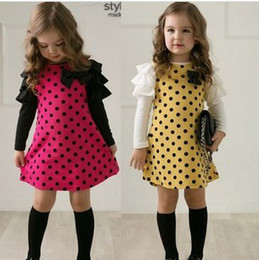 Wholesale Dress Polka Dot Pink Girls - Korean Girls Dress Polka Dots Tiered Puff Long Sleeve Bow Crosage Pink Yellow Dresses Party Spring Cute Girl Dress B2878