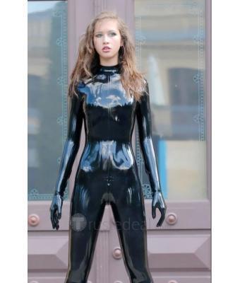 新しい到着のセクシーな黒ラテックスの全身キャットスーツタイツのゴムラテックス服