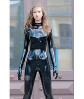 Wholesale Men Rubber Clothes - New Arrival Sexy Black Latex Full Body Catsuit Tights Rubber Latex Clothes for Both Women and Men