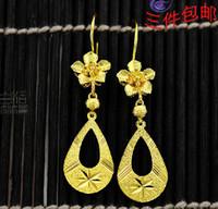 Wholesale Dangling Earrings 24k - wholesale fine 24k gold plated Dangle stud earring earrings bride earring Women Free shipping
