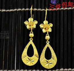 wholesale fine 24k gold plated Dangle stud earring earrings bride earring Women Free shipping