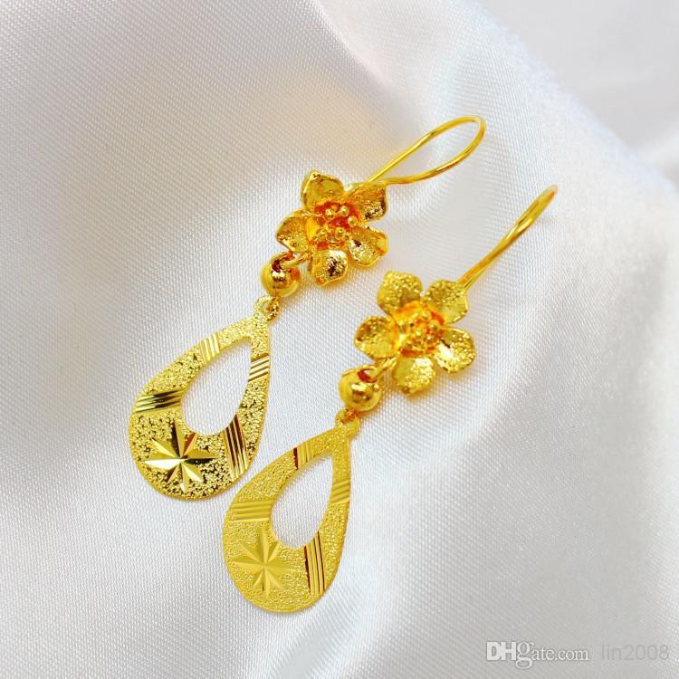 Wholesaleファイン24Kゴールドメッキダンガスタッドイヤリングイヤリング花嫁イヤリング女性無料配送
