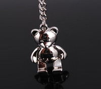 Wholesale Teddy Bear Best Gift - 10pcs 1lot NEW Fashion Teddy Bear style shine Stainless alloy steel Key Chain High Quality keychains best gift