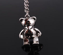 Wholesale Teddy Bear Wholesalers Quality - 10pcs 1lot NEW Fashion Teddy Bear style shine Stainless alloy steel Key Chain High Quality keychains best gift