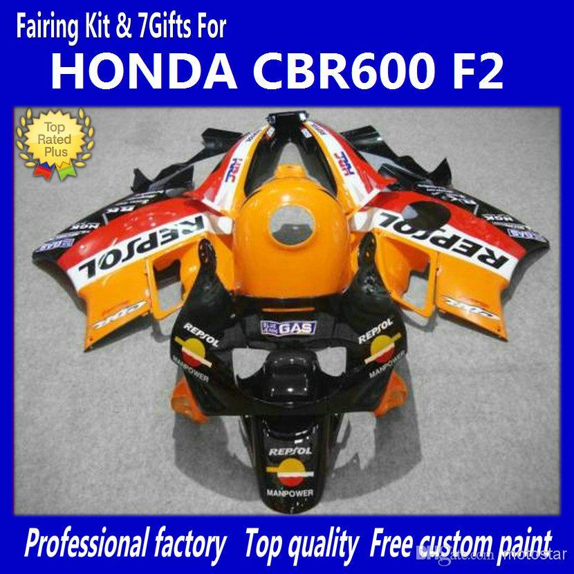Red Orange Fairing Kit för Honda CBR600 F2 91 92 93 94 CBR600F2 1991 1992 1993 1994 CBR 600 CBRF2 Fairings Kits Body