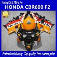 Wholesale Cover Honda Cbr - 7 Gifts + Tank cover red orange fairing kit For Honda CBR600 F2 91 92 93 94 CBR600F2 1991 1992 1993 1994 CBR 600 CBRF2 fairings kits body