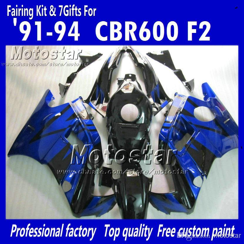 7 Geschenken Blauw Zwarte ABS-Verklei voor HONDA CBR600 F2 1991 1992 1993 1994 CBR600F2 91 92 93 94 CBR F2