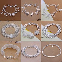Gemischte Art 925 Silber überzogene Armband-Schmucksache-Stern-Mond-musikalische Anmerkung-Verschluss-Quadrat-Ball-Charme-breites Armband-gute Qualität 1253 von Fabrikanten