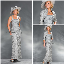 Wholesale Champagne Half Jackets - Exquisite Free shipping Straps Sheath Ankle length Lace look With jacket Half sleeves Lace Mother of the bride dress Evening gown Prom dress