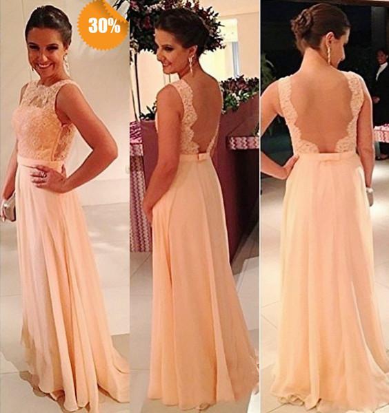 top popular Cheap Backless Coral Chiffon Lace Bridesmaid Dresses Sexy Floor Length Bridesmaid Dresses Zipper Back Wedding Guest Dresses 2021