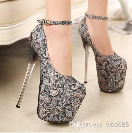 Großhandel 2014 Neue Ultra High Heel Schuhe 19cm Vintage Totem Chinesische Traditionelle 3D Stickerei Plattform Stiletto Tuch Frau Pumps Von Nice688,