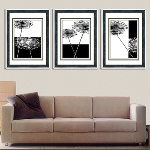 3 piece wall art set modern picture abstract oil painting wall decor canvas pictures for living room Black and white canvas dandelion