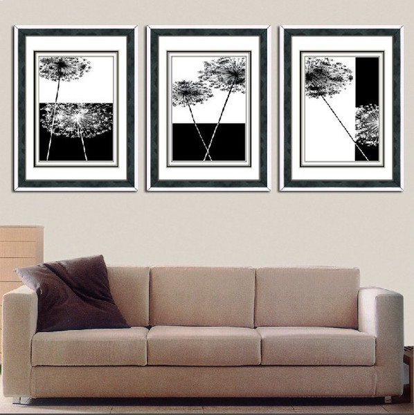 2019 Wall Art Set Modern Picture Abstract Oil Painting Wall Decor Canvas Pictures For Living Room Black And White Canvas Dandelion From Zhizihuakai