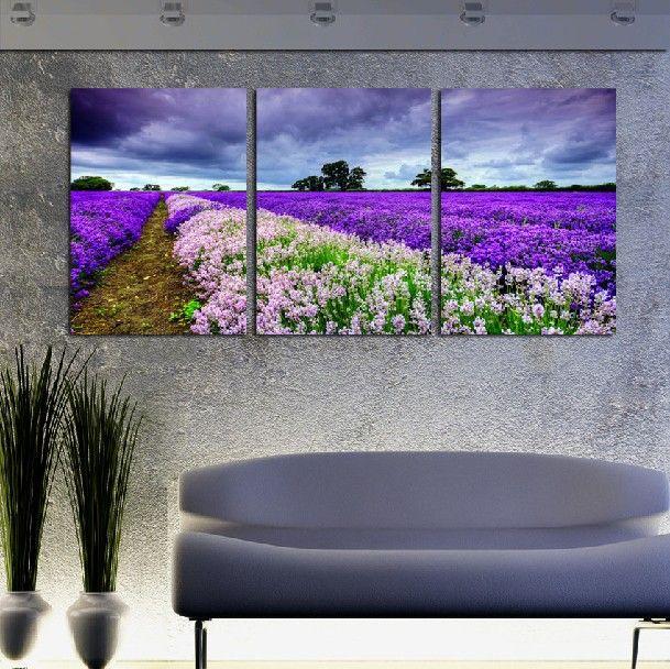 3 Stück Wand Kunst Set moderne Bild abstrakte Ölgemälde Wand Dekor Bilder für Wohnzimmer unter den dunklen Wolken charmante Lavendelfelder