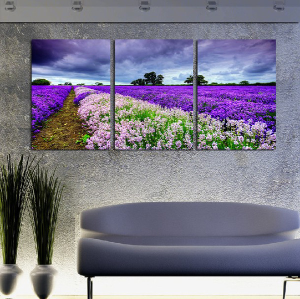 3 piece wall art set modern picture abstract oil painting wall decor pictures for living room Under the dark clouds charming lavender fields