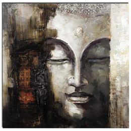 Wholesale Buddha Art Painting - Cheap Wholesale 100% Handmade Buddha Oil Painting Square Religion Decoration Painting People Art Painting on Canvas Support Droppshipping