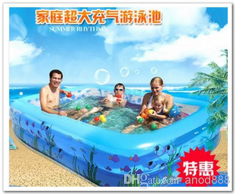 2018 fedex free size 19614346cm rectangular inflatable pool family ultra large swimming pool childrens toys fishing pond with air pump from anod888