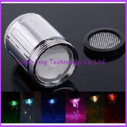Wholesale Shower Spray Light - High quality Water Glow Shower Spraying Head LED Faucet taps Light Temperature Sensor safety environmental protection shower