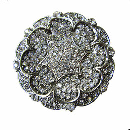 large rhinestone brooches Australia - 2 inch Vintage Style Rhodium Silver Plated Full Rhinestone Crystal Large Wedding Bouquet Brooch Pins