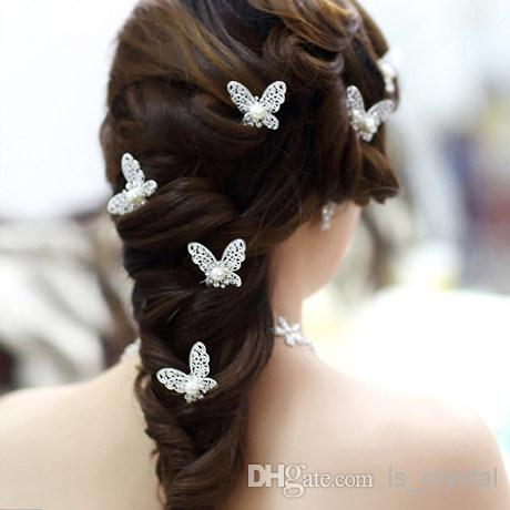 Shinning Clip di capelli a farfalla MINI Strass Accessori capelli con perle Gioielli da sposa Forniture feste da donna Decorazione di gioielli 10 pz / lotto XN0202