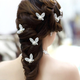 Wholesale Pin Rhinestone Clip - Shinning Butterfly Hair Clips MINI Rhinestone Pearl Hair Accessories Bridal Jewelry Women Party Supplies Jewelry Decoration 10pcs lot XN0202
