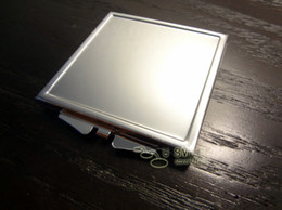 Wholesale Mirror Bezel - Metal Square Compact Mirror Blank Makeup Mirror with Bezel Silver Free Shipping#M060F