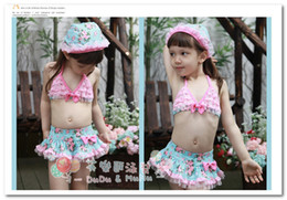 Wholesale Swimwear Bikinis Skirts - New korean children's swimsuits girls floral lace skirt princess swimwear bikini 3pcs sets kids spa beachwear in stock 7038