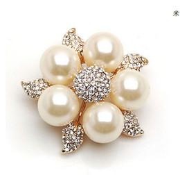$enCountryForm.capitalKeyWord Canada - Gold Plated Clear Rhinestone Crystal Diamante Ivory Faux Pearl Starfish Flower Brooch Pins with full of Tiny Stones