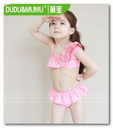 Wholesale Pink Skirt Bikini - Cute children skirt split swimwear girls pink bikini swimsuits 3pcs sets kids spa beachwear 5pcs lot 7039