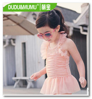 Wholesale Orange Swimsuit Skirt - Hot sell korean new children swimsuits skirt Siamese swimwear girls lace light orange spa beachwear have hats in stock 7041