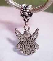 Wholesale European Dangle Beads - Hot Sales ! Guardian Angel Dangle Bead for Antique Silver European Style Charm Pendant 34 x 15 mm (z09)