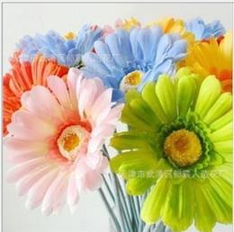 Margherite artigianali online-Commercio all'ingrosso - - 100pcs colori misti Daisy fiore di seta artificiale per Wedding Bouquet da sposa decorazione Craft 4.3