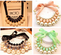 Wholesale Fashionable Necklace Pearl - Fashionable Ladies Bib Choker Jewellery Pearl Necklace Pendant Statement Necklaces 5Colors Hot Lovely Christmas Gift 1263