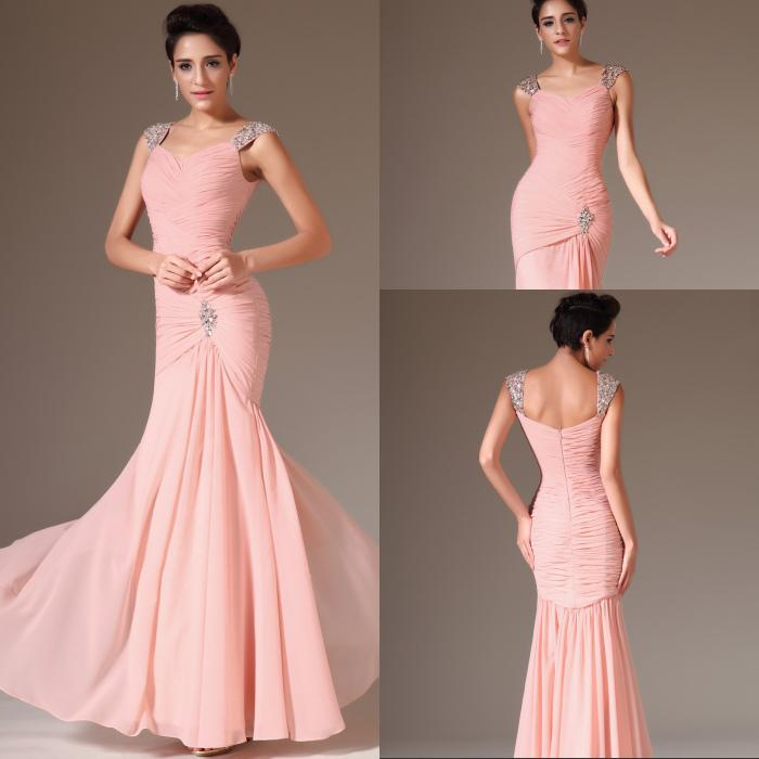 Best Selling Mermaid Cap Sleeve Prom Dresses Floor Length Pink