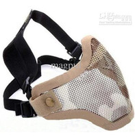 Wholesale New Half Face Metal Mesh Protective Mask Airsoft Paintball Resistant Tan Camo
