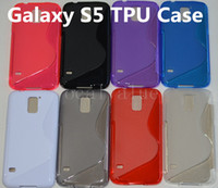 Wholesale S Line Case Galaxy - Anti Slip S Line Silicone Rubber Skin Clear TPU Gel Back Cover Case For Samsung Galaxy S5 I9600 TPU Cases Free DHL FEDEX