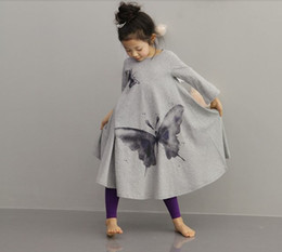 Wholesale Vintage Butterfly Sleeve Dress - New Fashion Korean Style Ink Wash Butterfly Washing Printing Long Sleeve Wide Hemline Vintage Girls Bow Dress Kids Dresses Dressy D1050