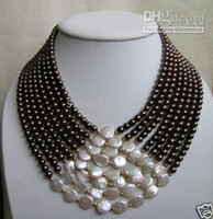Wholesale 7 row united south sea white coin black pearls necklace AAA